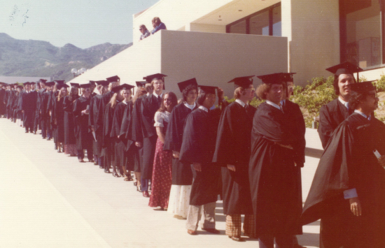Graziadio graduates lining up