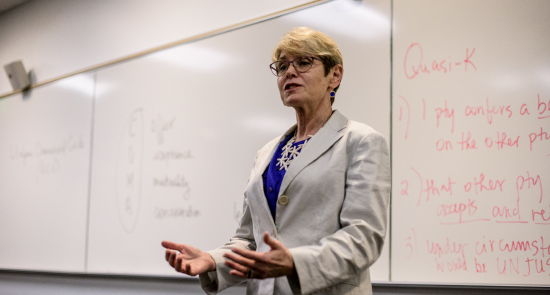 Business Law Faculty Linnea McCord teaching in class