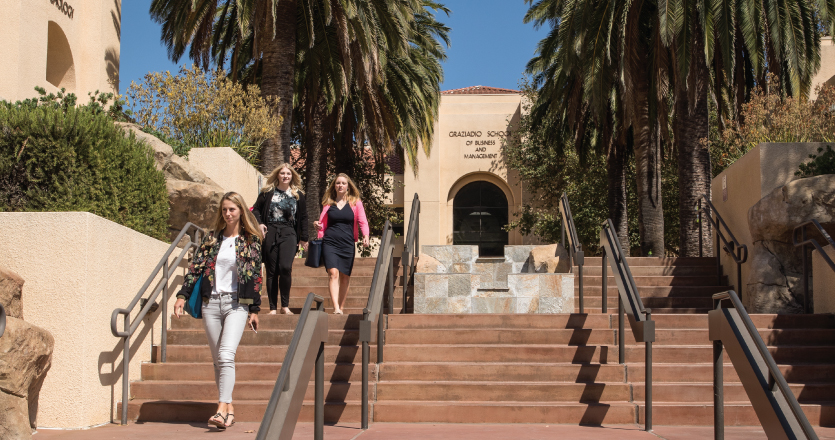 Students walking down stairs from the Drescher Campus entrance