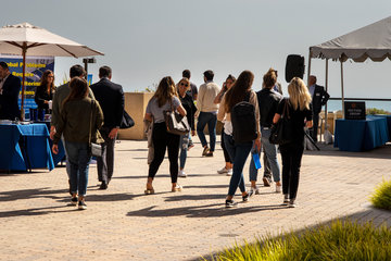 Event attendees outside at Pepperdine Drescher campus