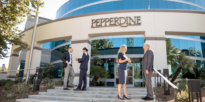 Students standing outside of Pepperdine Calabasas Campus
