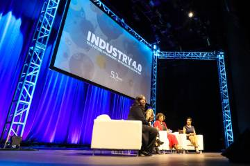 Panelists speaking at Industry 4.0 Event at LA Live