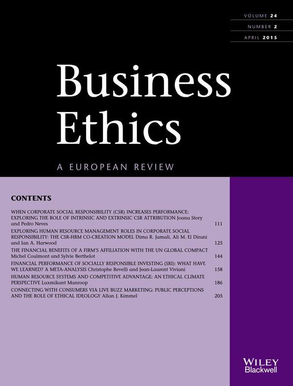 Journal of Business Ethics journal cover
