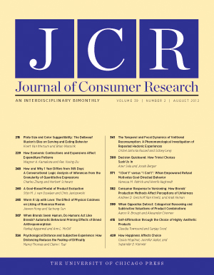 Journal of Consumer Research journal cover