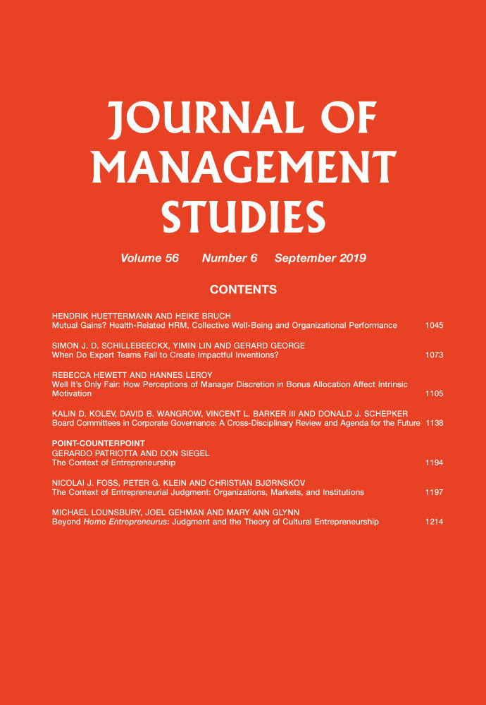 Journal of Management Studies journal cover