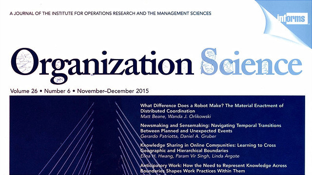 Organization Science journal cover