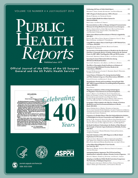 Public Health Reports journal cover