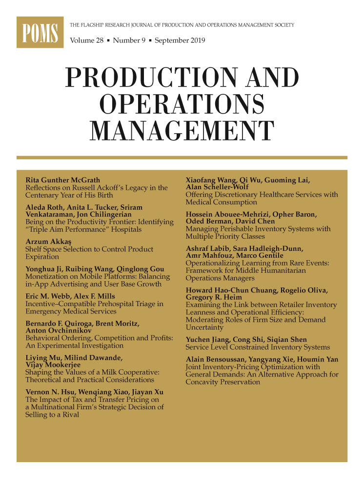Production and Operations Management journal cover