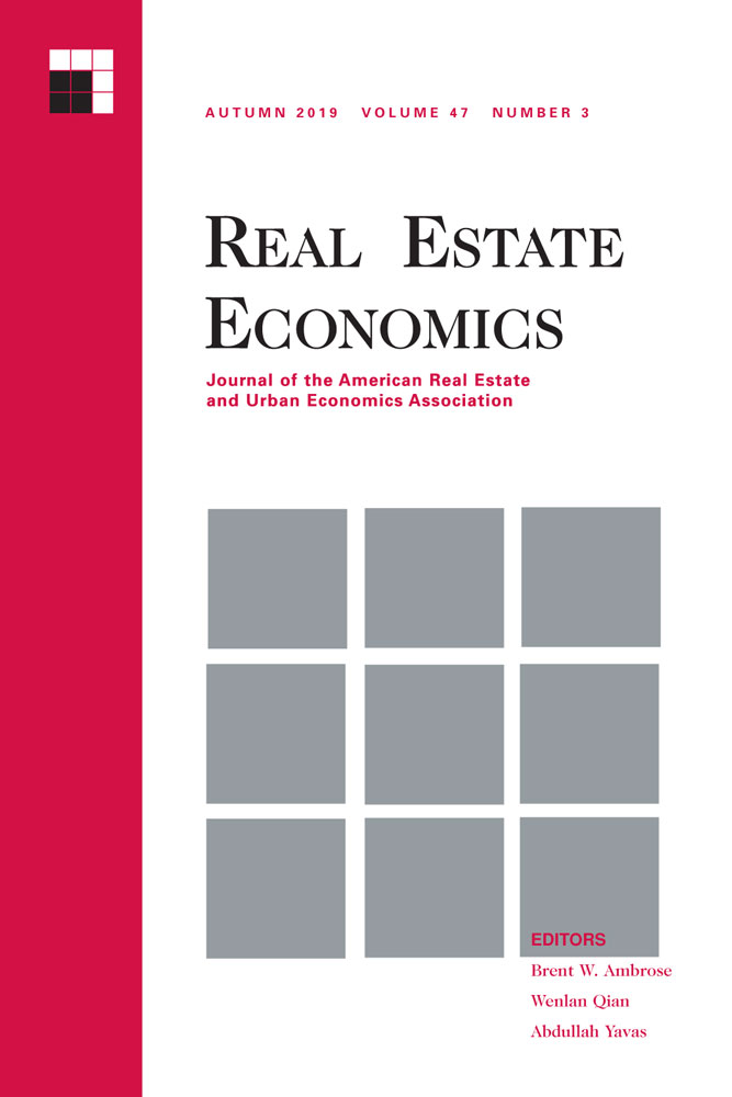 Real Estate Economics journal cover