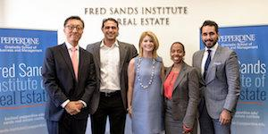 A ribbon-cutting ceremony honors Fred Sands' endowment of a dynamic new enterprise at the Pepperdine Graziadio Business School.