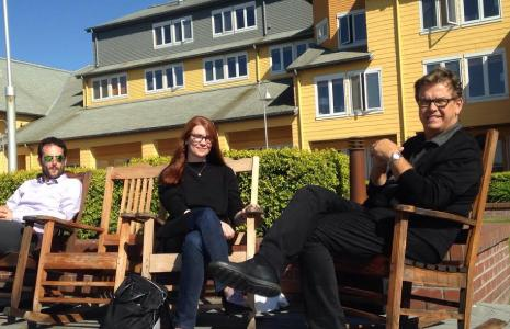 MSOD students sitting on rocking chairs