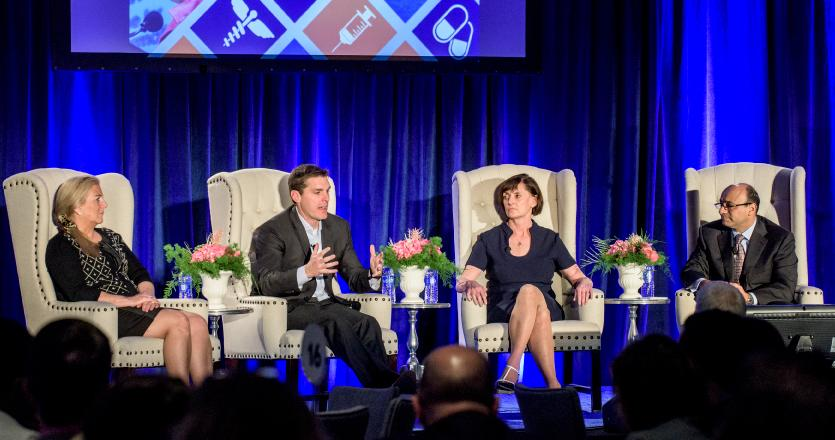 Four panelists discussing trends in healthcare at Future of Healthcare Symposium