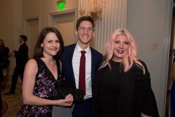 James Berneking, Sharon Elizabeth Berneking and Kimber Maderazzo standing together at George Awards ceremony