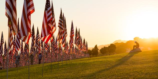 Image of flags at sunset