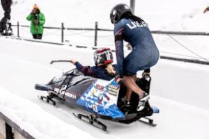 Photo of Lauren bobsledding