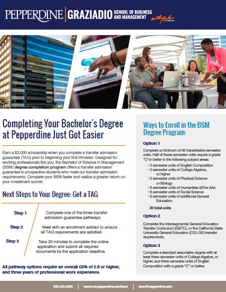 Transfer Admission Guarantee Pepperdine Graziadio Business School